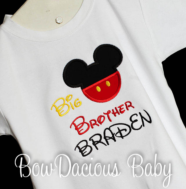 Mickey Mouse Boys Sibling Personalized Big Brother Shirt, Lil Bro, Big Bro, Custom Sibling Shirt, Minnie Available, Birthday Gift