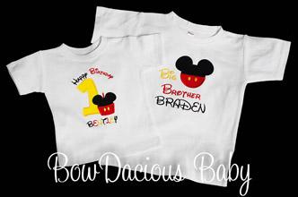 Mickey Mouse Birthday Shirt and Big/Little Brother Shirt, Custom