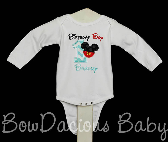 Mickey Mouse Birthday Boy Shirt or Onesie, Custom, Any Age