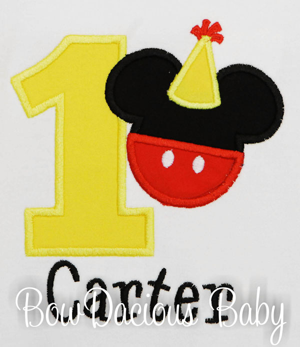 Personalized Mickey Mouse with Birthday Hat Birthday Shirt, Custom, Any Age and Colors