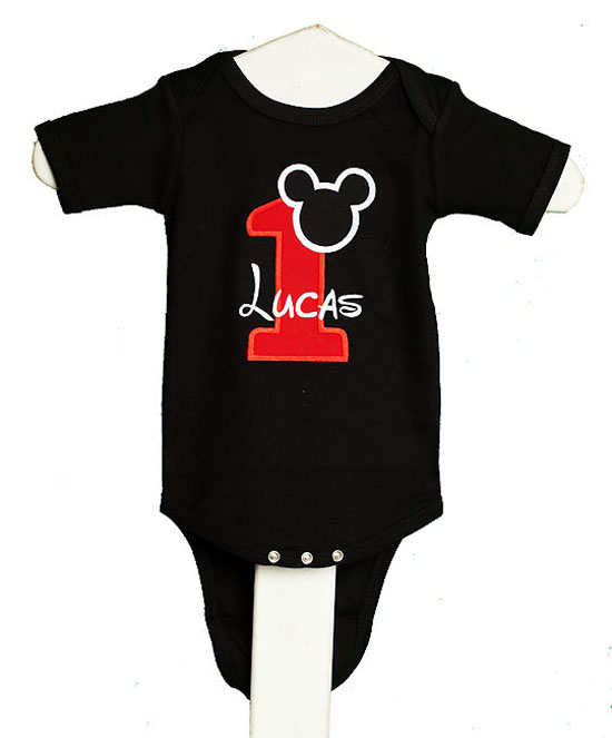 Black Mickey Mouse Birthday Shirt or Onesie, Custom, Any Age