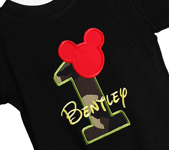 Camouflage Mickey Mouse Birthday Shirt or Onesie, Any Age