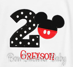 Boys Mickey Mouse Birthday Shirt, Mickey with Pants, Custom, Any Age