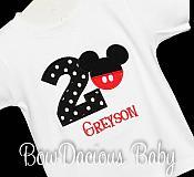 Boys Mickey Mouse Birthday Shirt, Mickey with Pants, Custom, Any Age