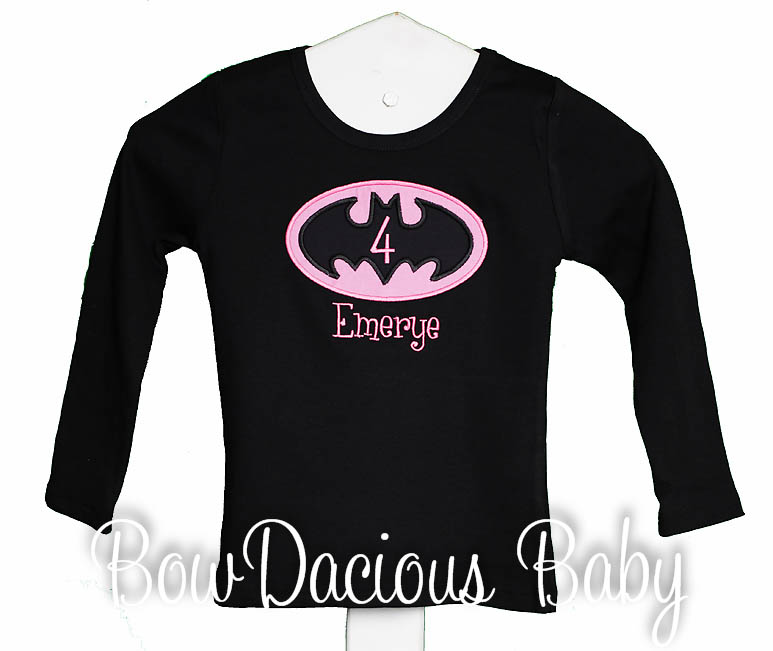 Girls' Batman Birthday Shirt, Superhero Girl Shirt, Little Girl Batman, Batgirl, Any Age, Any Colors, Tank Top, Shirt, Romper, Onesie, Dress