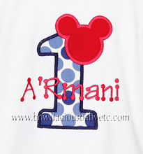 Mickey Mouse 1st Birthday Shirt or Onesie, Custom