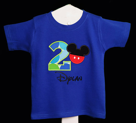 Blue Mickey Mouse Birthday Shirt or Onesies, Custom, Any Age, You Pick Colors