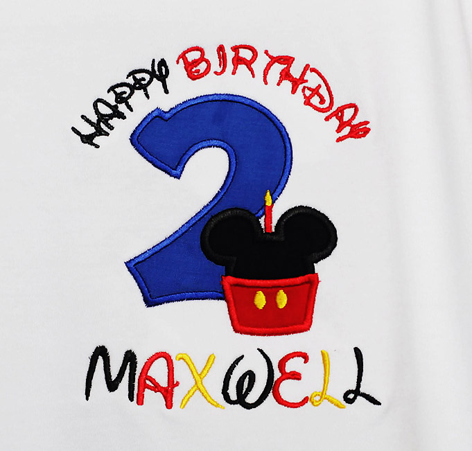 Mickey Minnie Mouse Birthday Shirt Custom Embroidered Applique Cupcake Monogram Monogrammed 1st