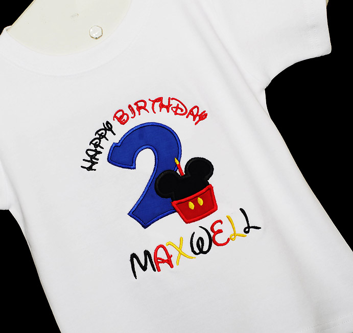 Mickey Minnie Mouse Birthday Shirt, Custom Embroidered Applique, Cupcake Monogram, Monogrammed 1st, First, 2nd, 1 2 3