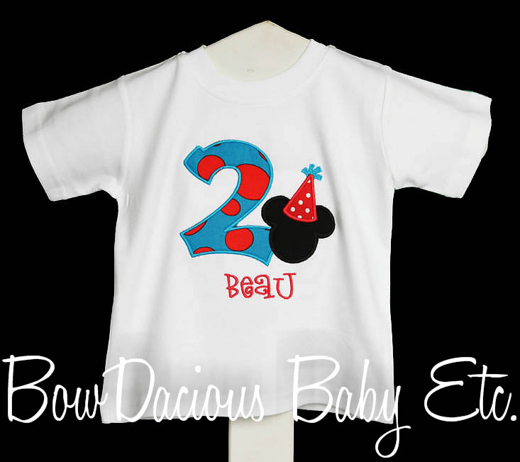 Party Hat Mickey Mouse Birthday Shirt or Onesie, Custom, Any Age, Any Colors