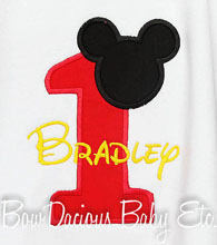 Personalized Mickey Mouse Birthday Shirt or Onesie, Custom, Any Age