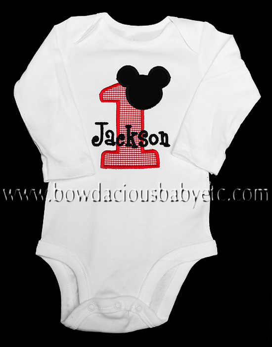 Mickey Mouse 1st Birthday Onesie, Custom, Any Age