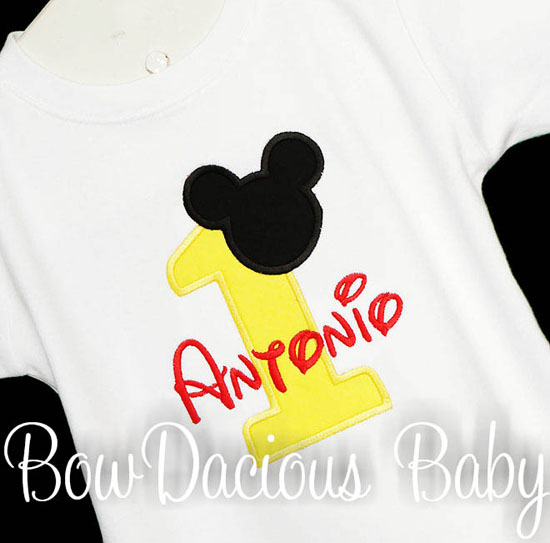 Yellow Mickey Mouse Birthday Shirt or Onesie, Any Age, Custom
