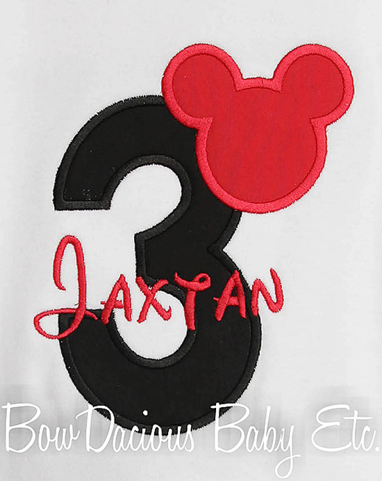 Birthday Mickey Mouse Number Shirt Disney Applique