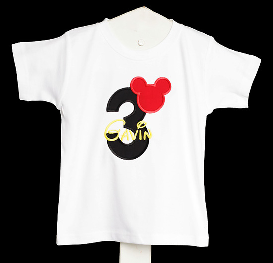 Mickey Mouse Ears Birthday Shirt Disney Font Applique