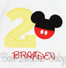 Boys Mickey Mouse Birthday Shirt or Onesie, Custom, Any Age