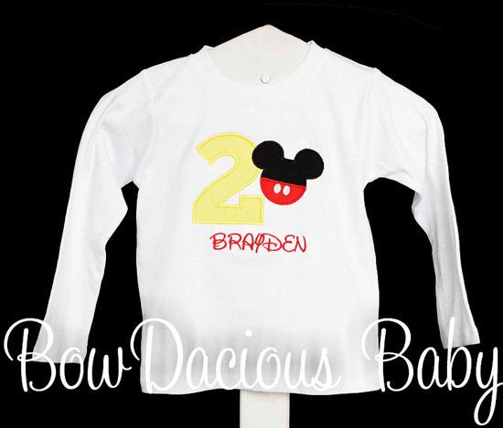 Boys Mickey Mouse Birthday Shirt or Onesie, Custom, Any Age