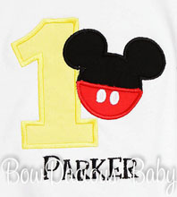 Boys Birthday Mickey Mouse Yellow Number Shirt or Onesie, Custom, Any Age