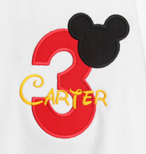 Boys Personalized Mickey Mouse Birthday Tee Shirt