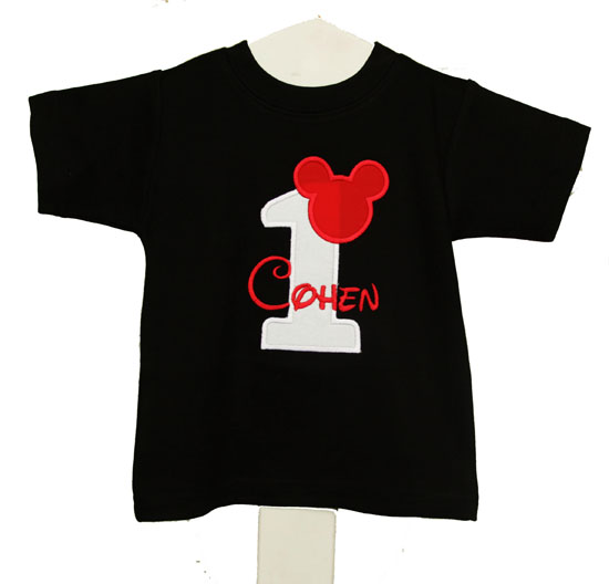 Birthday Mickey Ears White Number Shirt Disney Applique