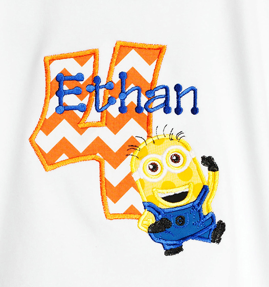 Boys Personalized Minion Number Birthday Shirt or Onesie