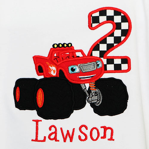 Blaze Birthday Shirt, Custom, Any Age, Embroidered