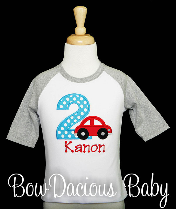 Car Birthday Shirt or Onesie, Custom, Personalized, Any Age and Colors