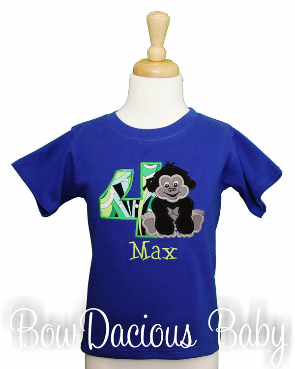 Gorilla Birthday Shirt, Custom, Personalized, Any Age and Colors