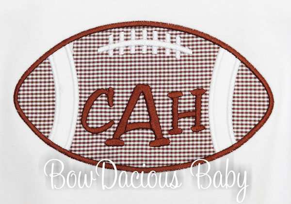 Monogrammed Football Shirt or Onesie, Custom, Any Colors
