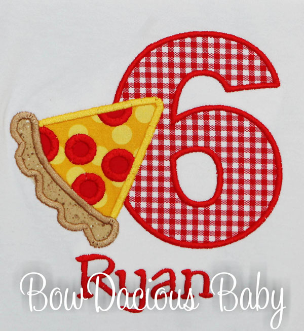 Pizza Birthday Shirt, Personalized, Custom, Any Age and Colors