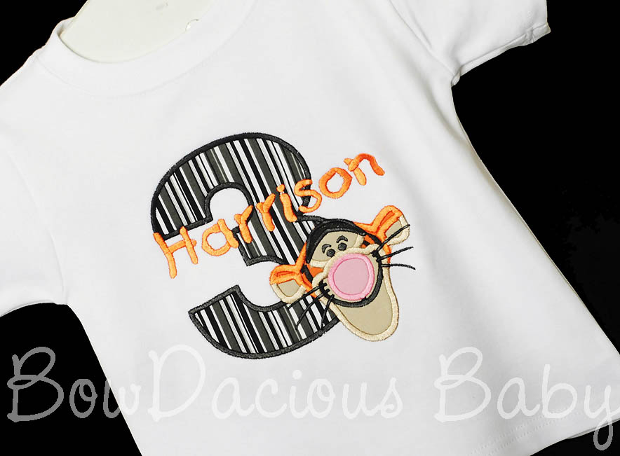 Tigger Birthday T-shirt or Onesie, Custom, Any Age, Any Colors, Boys or Girls, Great for Birthday pictures or a Tigger or Winnie the Pooh themed Birthday party!