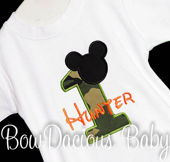Camouflage Mickey 1st Birthday Shirt or Onesie, Custom, Any Age