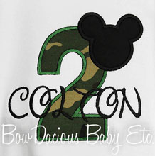 Mickey Mouse Camouflage Birthday Shirt, Custom, Any Age