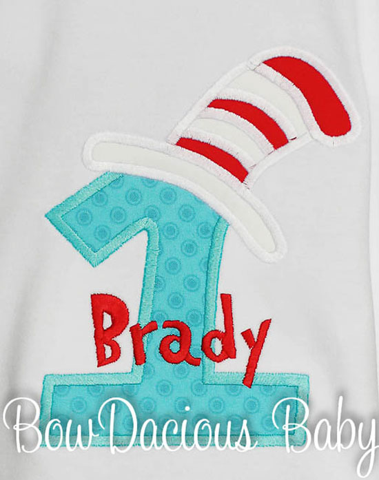 Boys Cat in the Hat Birthday Shirt or Bodysuit, Custom Fabric, Any Age