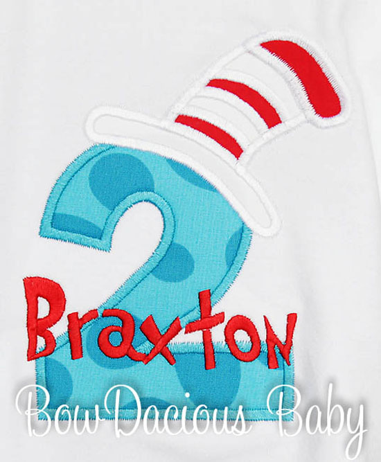 Cat In the Hat 2nd Birthday Shirt, Any Age, Custom