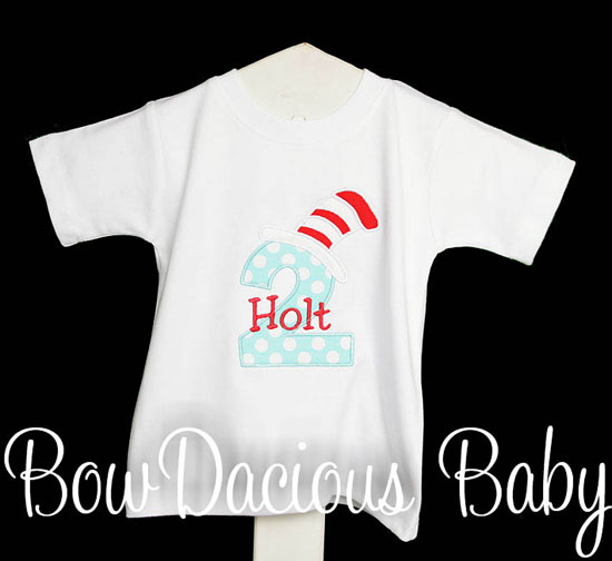 Custom Cat in the Hat Birthday Shirt or Onesie, Any Age