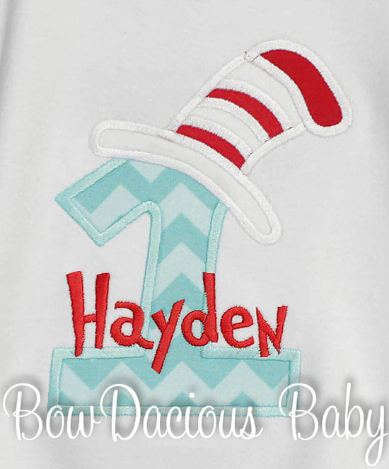 Cat in the Hat 1st Birthday Shirt or Onesie, You Pick Fabrics