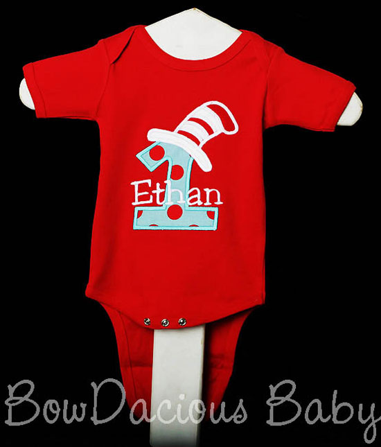 Red Cat in the Hat 1st Birthday Shirt or Onesie, Custom, Any Age