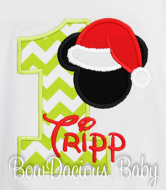 Santa Mickey Birthday Shirt or Onesie, Custom, Any Age
