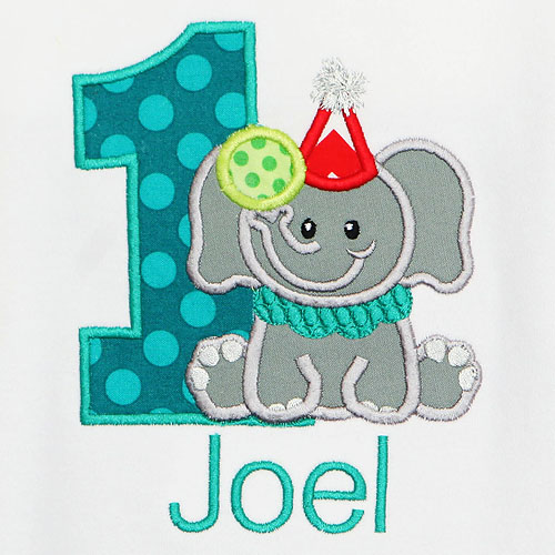 Circus Elephant Birthday Shirt, Custom, Personalized, Any Age, Any Colors, Embroidered