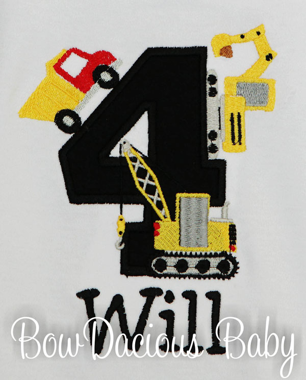 Construction Birthday Shirt, Personalized Construction Vehicles Birthday Shirt, Personalized, Any Age