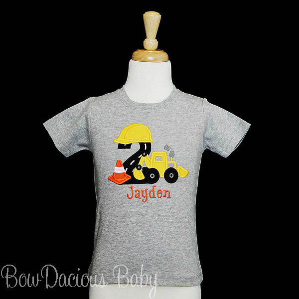 Custom Personalized Backhoe Birthday Shirt with Hard Hat and Cone, Any Age, Any Colors