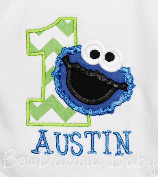 Cookie Monster Birthday Bib, Custom