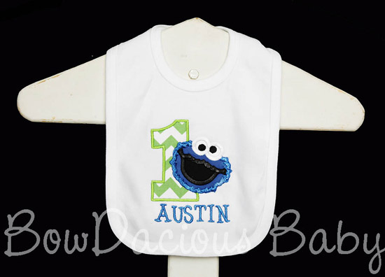 Cookie Monster Birthday Bib, Custom
