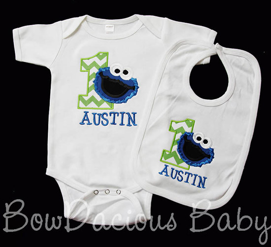 Cookie Monster Birthday Outfit, Custom Shirt and Bib, Any Age