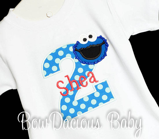 Appliqued Cookie Monster Birthday Shirt