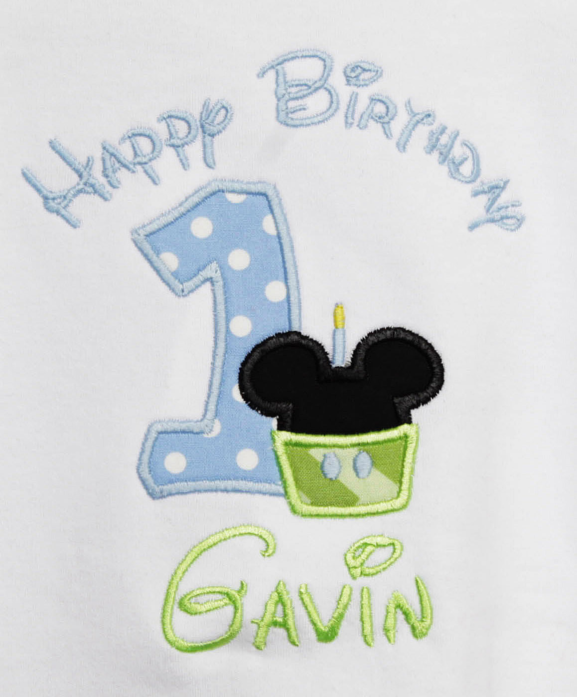Baby Mickey Mouse Cupcake Birthday Shirt Or Onesie Custom Embroidered Applique