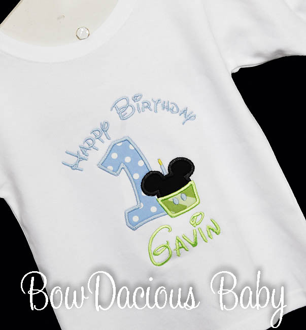 Baby Mickey Mouse Cupcake Birthday Shirt or Onesie, Custom Embroidered Applique, Cupcake, Monogram, Monogrammed, 1, 2, 3