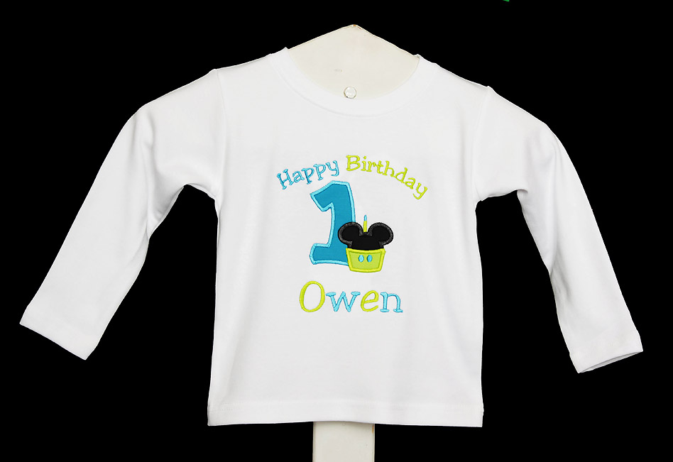 Cupcake Mickey Mouse Birthday Shirt or Onsie, Custom, Any Age, Any Colors, Personalized