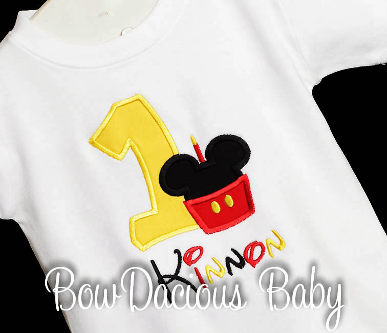 Mickey Minnie Mouse birthday Shirt or Onesie, Custom Embroidered Applique, Cupcake, Monogram, Monogrammed, 1, 2, 3